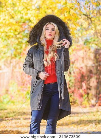 Versatile Functional And Stylish. Girl Wear Parka While Walk Park. Puffer Jacket With Hood. Woman We