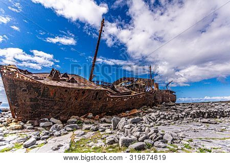 Stunning View Of The Plassey Shipwreck On The Rocky Beach Of Inis Oirr Island, Abandoned Ship, Old,
