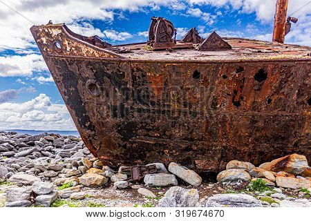 Close-up Of The Bow Of The Plassey Shipwreck On The Rocky Beach Of Inis Oirr Island, Abandoned Ship,