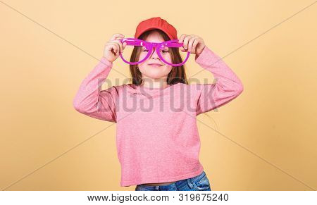 My Goggles As Unique As Me. Cute Smal Child With Fashion Goggles Accessory. Adorable Little Girl Wea