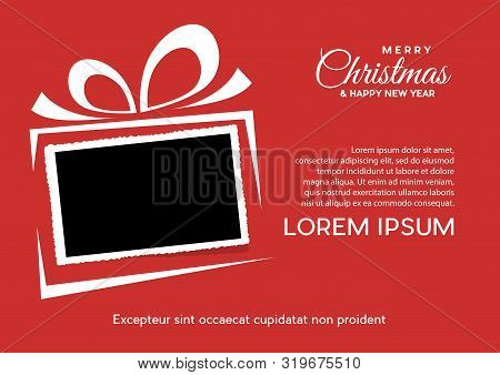 Christmas And Background With Photo, Blank Frame. Vector Template With Picture To Insert: Poster And