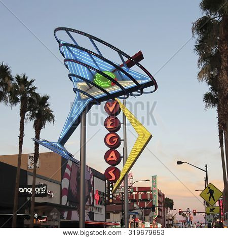 Las Vegas, Nevada, July 3. Fremont East District On July 3, 2019, In Las Vegas, Nevada. A Restored V