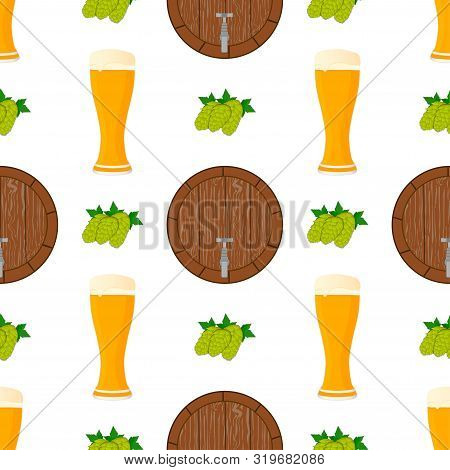Illustration On Theme Big Colored Pattern Oktoberfest, German Holiday It Fest Barrel. Pattern Consis