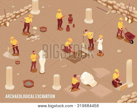 Archeology Isometric Background With Archeological Excavation Of Ancient Artifacts Process 3d Vector