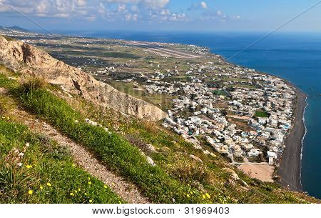 Village of Kamari at Santorini, Greece