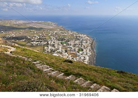 Kamari village at Santorini, Greece