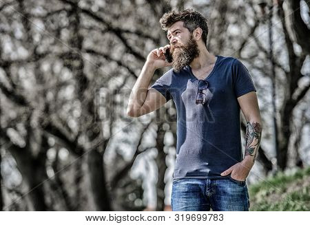 Man With Beard Calling. Bearded Man Call Cell Phone. Communication Concept. Try Call Later. Redirect