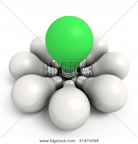 Green Bulb In A White Group
