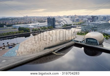 Glasgow, Uk - August 24: Aerial View Of Glasgow Science Centre, Secc And Hydro Area On The River Cly