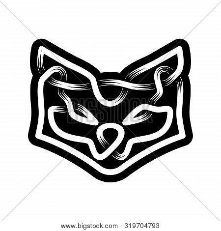 Abstract Head Of Fox. Celtic Ornament In Black And White