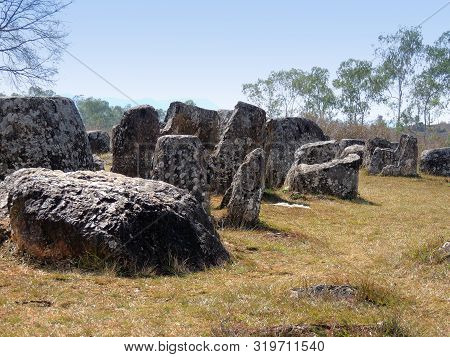 View Of Some Of The Mysterious Stone Jars At The Largest Plain Of Jars Area Site 1 Near Phonsavan In