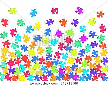 Game Conundrum Jigsaw Puzzle Rainbow Colors Pieces Vector Background. Top View Of Puzzle Pieces Isol