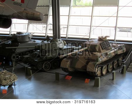 July 5, 2012, Ottawa, Canada, Canadian War Museum, Sherman, Russian T-34 And German Panther Tanks Of