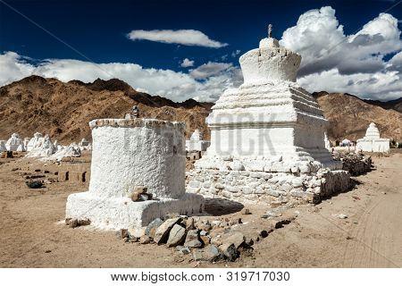 White chortens (stupas) near Shey, Ladakh, Jammu and Kashmir, India