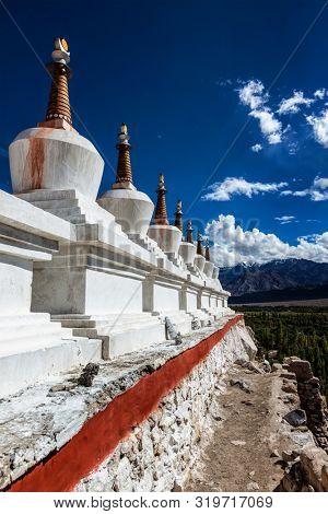 Chortens (Buddhist stupas) outside the Shey palace, Ladakh, India