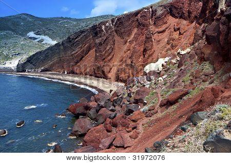 The Red beach at Santorini island