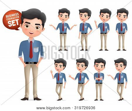 Male Professional Business Characters Vector Set. Business Manager Character Standing And Wearing Wo