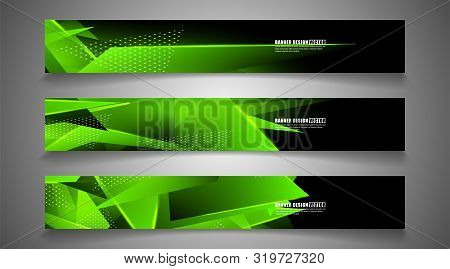 Set The Triangle Background Light Header Banner. Abstract Composition Of 3d Triangles. Modern Geomet