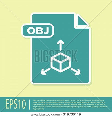 Green Obj File Document. Download Obj Button Icon Isolated On Yellow Background. Obj File Symbol. Ve