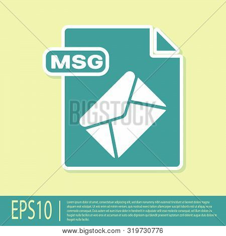 Green Msg File Document. Download Msg Button Icon Isolated On Yellow Background. Msg File Symbol. Ve