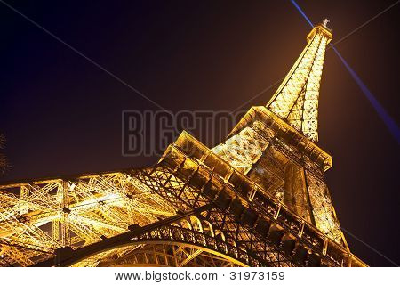 Eiffel Tower in festive illumination to Birthday (it is open on March 31 1889) March 31 2012 in Pari