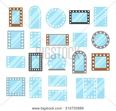 Vanity Led Lighted Mirrors. Rectangular & Round Makeup Mirrors With Light Bulbs. Flat Icon Set. Fram