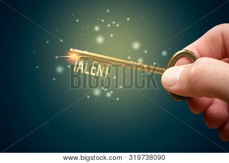 Key To Unlock And Open Your Talent And Potential. Mentor, Coach And Another Leading Person Has A Key