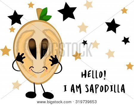 Sapodilla, Fruit Doodle Drawings Vector Illustration. Sapodilla Character. Learning Fruits.