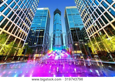Modern Office Building And Music Fountain On The Square, Jinan, China.