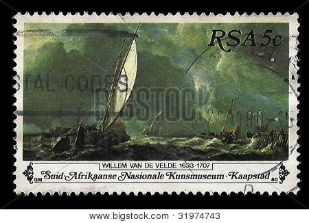 South Africa Postage Stamp Sail Boats On Stormy Sea Painting 1980