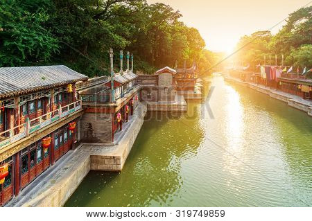 Suzhou Market Street In Summer Palace, Beijing, China. Along The Back Lake, The Street Design Imitat