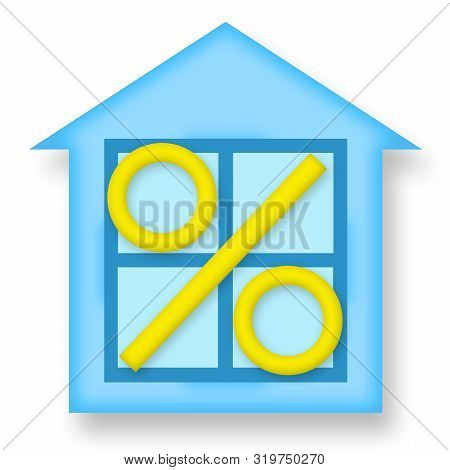 House And Percent Mark, Housing Market And Real Estate Investment Icon