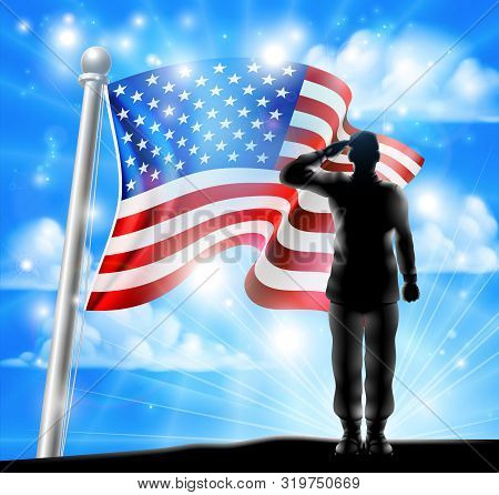 A Silhouette Soldier Saluting With American Flag In The Background, Design For Memorial Day Or Veter