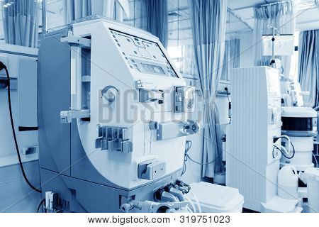 Hemodialysis Machines With Tubing And Installations. Health Care, Blood Purification, Kidney Failure