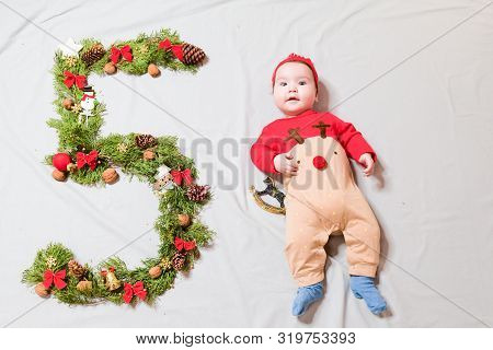 The Child Is Five Months Old. 5 Months Old Cute Baby Portrait. 5 Digit Offspring. Happy Baby Boy, Sm