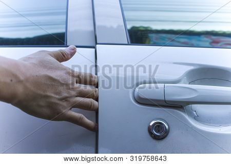 Man Hand Or Finger Pinched By The Car Door; Close Up Portrait Of Finger Pinched, Slammed By The Car
