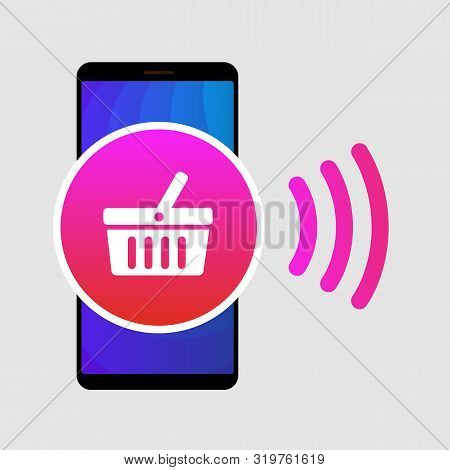Nfc Paypass Mobile Phone Flat Vector Icon. Near Field Communication Sign. Contactless Payment Logo.