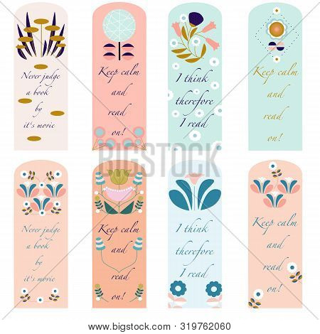 Retro Pastel Flower Bookmarks. Vector Elements Perfect To Use In Print, For Bookmarks
