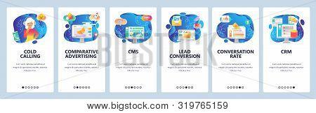 Mobile App Onboarding Screens. Digital Marketing, Conversion Rate, Data Storage, Cold Calls. Menu Ve