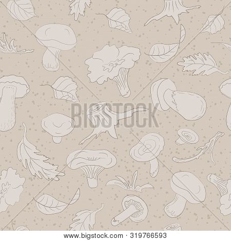 Seamless Pattern With Forest Mushrooms And Leaves.