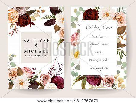 Vertical Label Baroque Frames Of Leaves And Flowers. Rust Orange Rose, Dahlia, Peony, Ranunculus, Bu