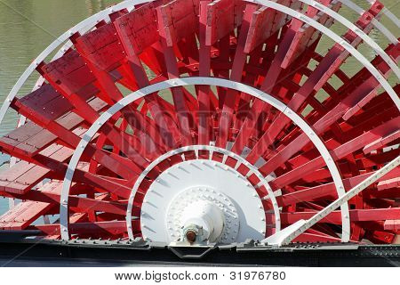 Red Paddle Wheel on a Riverboat