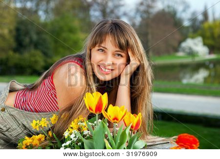 beautiful spring portrait with tulips