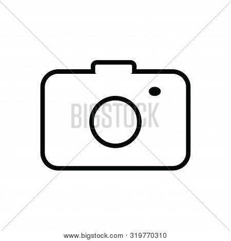 Photo Camera Line  Icon Isolated Black On White Background, Camera Icon Vector Flat Modern, Camera I