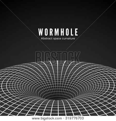 Abstract Black Hole Or Wormhole. Sci-fi Digital Illustration Of Portal Though Time And Space. Space