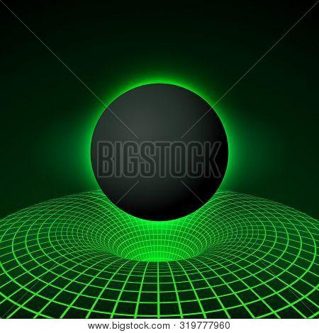 Digital Visualisation Black Hole. Physics - Anomalous Black Hole Phenomenon. Singularity And Event H