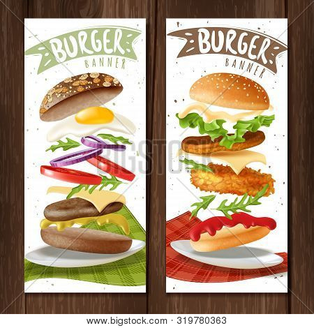 Realistic Burger Vertical Banners. Two Fast Food Burgers Vertical Banners On Wooden Surface With Ham