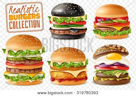 Realistic Burgers Collection Transparent Background Set. Realistic Ready Burgers Set With Isolated E