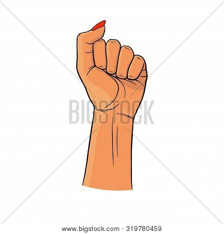 Womans Hand With Her Fist Raised Up. Girl Power. Feminism Concept. Realistic Style Vector Illustrati