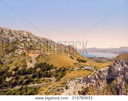 Aerial View Of Mirador Es Colomer Viewpoint, Cap De Formentor, Mallorca. Known As Meeting Point Of T